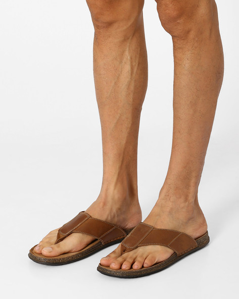 Leather Thong Sandals By ARROW ( Tan )