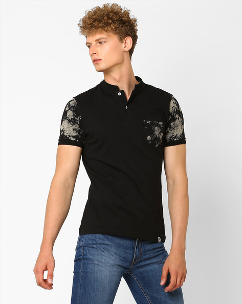 Mandarin Collar T-shirt With Printed Accents By Garcon ( Black )