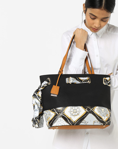 Printed Shoulder Bag With Fabric Tie-Up By Diana Korr ( Black )