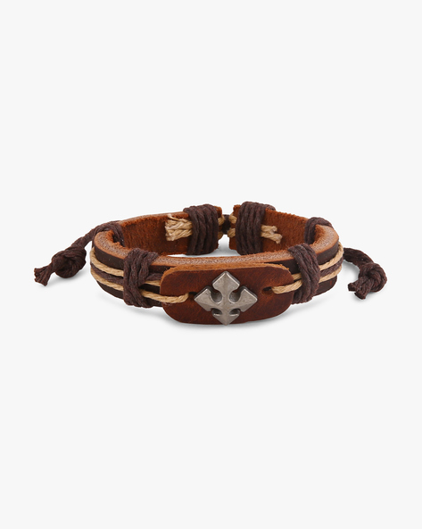 Faux Leather Bracelet With Metallic Accent By ALPHA MAN ( Multicolor ) - 460068297001