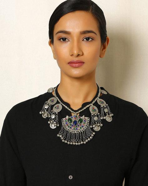 Afghani Vintage Tribal Statament Necklace By Indie Picks ( Metallic )