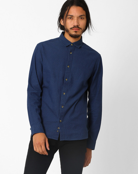 Printed Slim Fit Shirt By Celio ( Indigo )