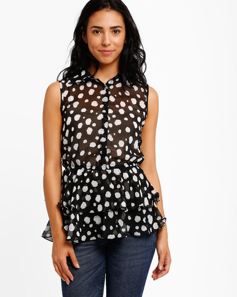 Printed Sleeveless Ruffle Top By The Vanca ( Black )