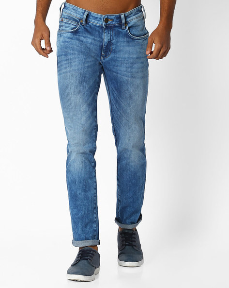 Heavily Washed Slim Fit Jeans By WRANGLER ( Blue )