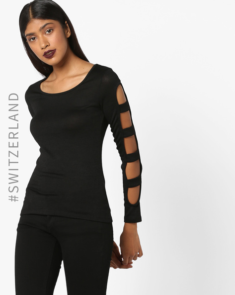 Pullover With Cut-Out Sleeves By TALLY WEiJL ( Black )