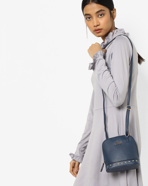 Sling Bag With Metal Accents By Lavie ( Blue )