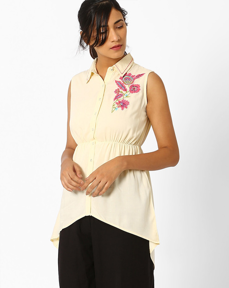 Shirt Tunic With Applique Detail By AJIO ( Offwhite )