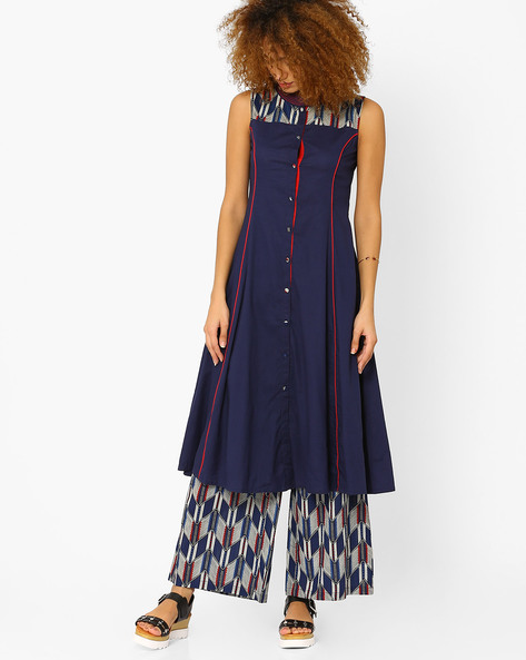 A-line Kurta With Full Button Placket By AJIO ( Navyblue )