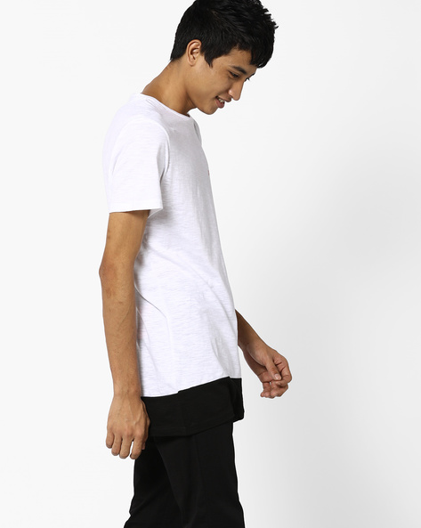 Panelled T-shirt With Printed Back By AJIO ( White )