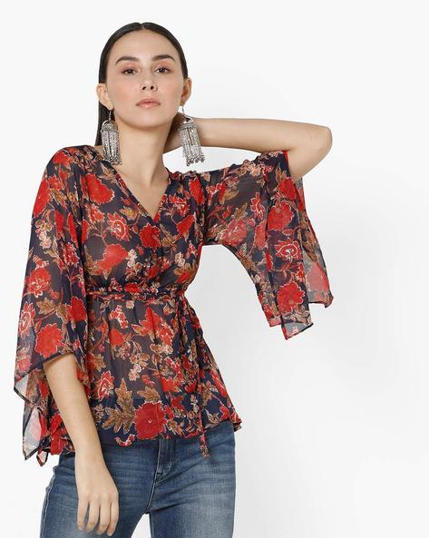 Floral Wrap Top With Tie-Up By Oxolloxo ( Multicolour ) - 460169740001