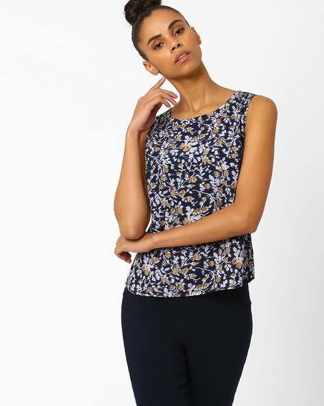Floral Print Sleeveless Top By FIG ( Navy )