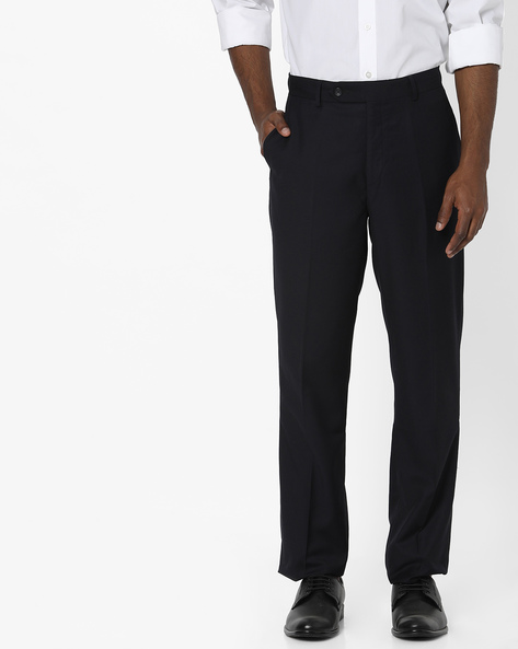Relaxed Fit Flat-Front Trousers By Wills Lifestyle ( Navy )