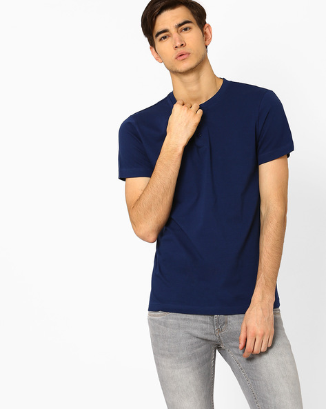 Cotton Henley Slim Fit T-shirt By Blue Saint ( Navy )
