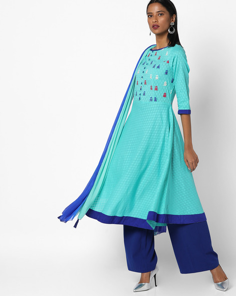 Embroidered Kurta With Shaded Dupatta By AJIO ( Turqouise )