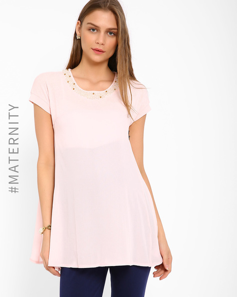 Embellished Maternity Top By AJIO ( Pink ) - 460002918003