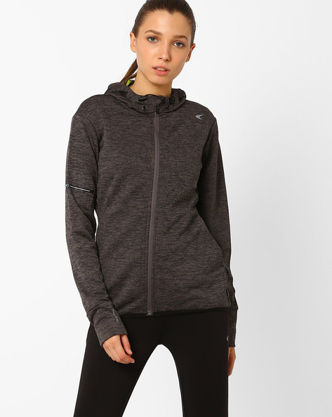 Fitness Knit Jacket With Quick Dry By PERFORMAX ( Charcoal )