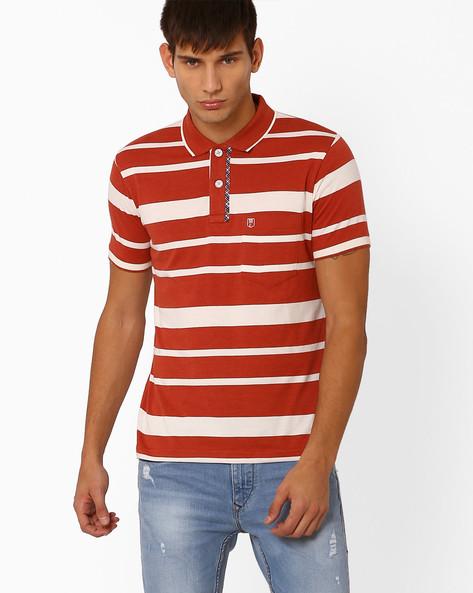 Striped Polo T-shirt By DUKE ( Maroonburg )