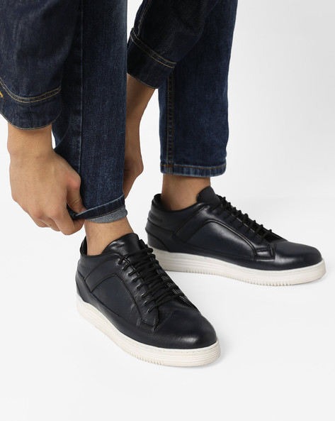 Low-Top N9-Treated Lace-Up Sneakers By AJIO ( Navy ) - 460122682003