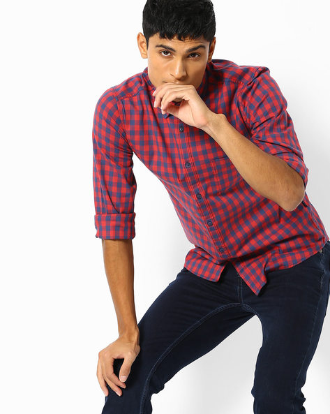 Gingham Checked Slim Fit Shirt By Pepe Jeans ( Red )