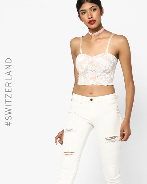 64c850bc7ecd3 Floral Lace Bralette Top By TALLY WEiJL ( Offwhite ) Best Deals With ...