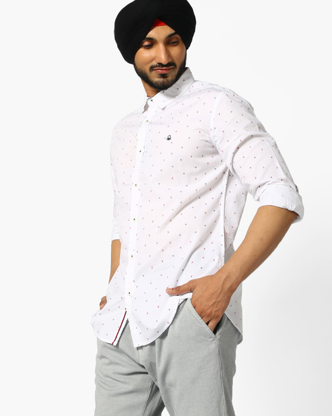 Bird Print Cotton Shirt By UNITED COLORS OF BENETTON ( White )