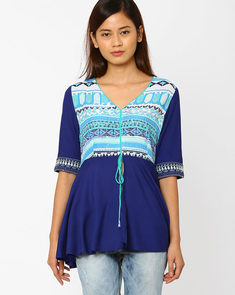 Printed Top With Tie-Up By AJIO ( Blue )