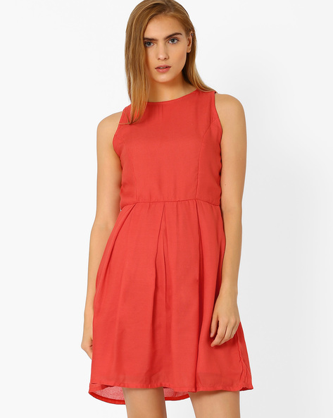 Fit & Flare Dress With Inverted Pleats By ANONYMOUS CO ( Red )