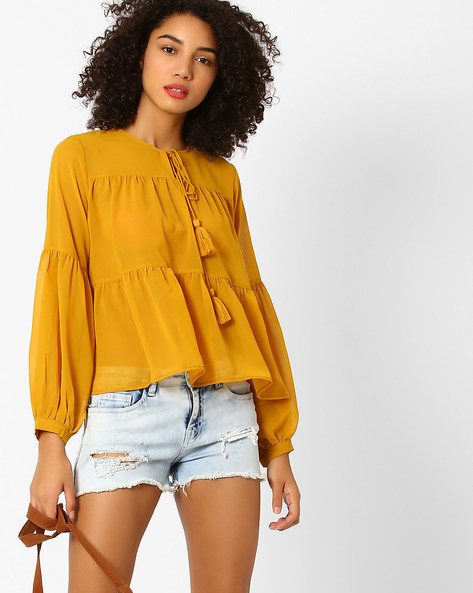 Tiered Top With Tassel Tie-Up By Rena Love ( Mustard )