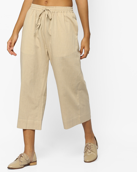 Mid-Rise Culottes With Tie-Up By Project Eve IW Casual ( Beige )