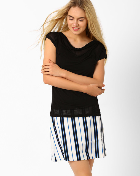 Top With Cowl Neck By Annabelle By Pantaloons ( Black )