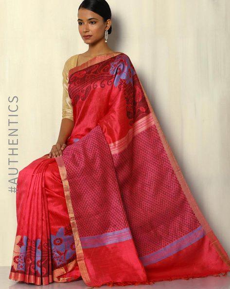 Pure Silk Dupion Handloom Saree With Baluchari Pallu By Pretty Woman ( Magenta )