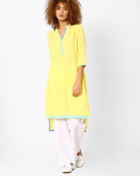 High-Low Kurta With Embroidery By AJIO ( Yellow )