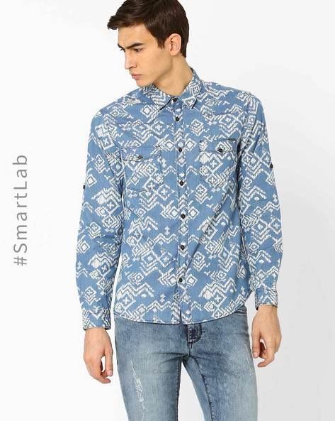Geometric Print Slim Fit Shirt By AJIO ( Blue )