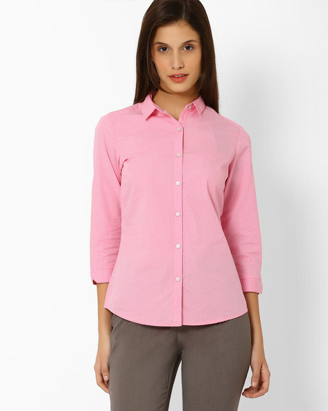 Printed Cotton Shirt By Annabelle By Pantaloons ( Pink )