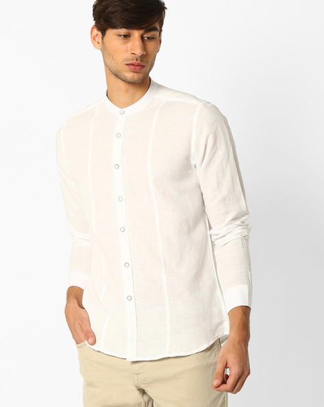 Regular Fit Shirt With Curved Hem By NETPLAY ( White )