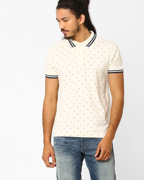 Printed Slim Fit Polo T-shirt By FLYING MACHINE ( Assorted )