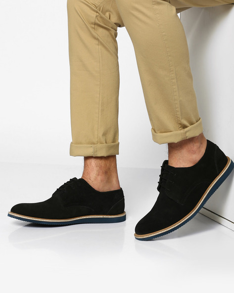Panelled N9-Treated Genuine Leather Casual Shoes By AJIO ( Black )