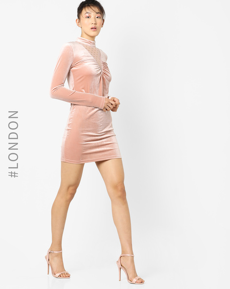 High-Neck Bodycon Dress By Glamorous ( Nude )