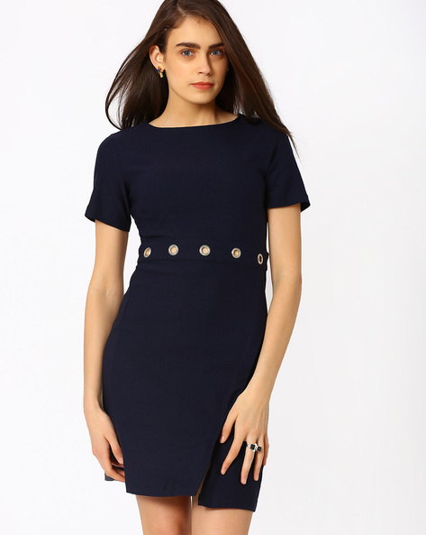 Sheath Dress With Eyelet Detail By RIDRESS ( Navyblue )