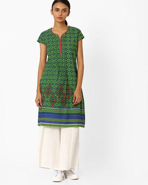 Printed Straight Kurta With Pintucks By Jiyaa ( Green )