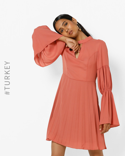 Pleated A-line Dress With Tiered Bell Sleeves By TRENDYOL ( Peach )