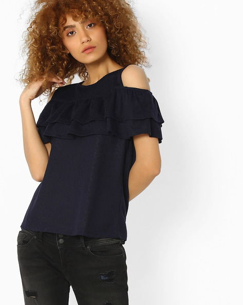 Cold-Shoulder Ruffle Top By Femella ( Navyblue )