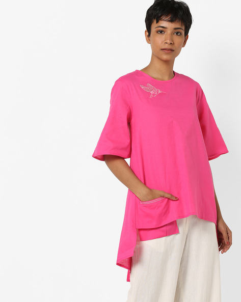 Tunic With High-Low Hem By AJIO ( Fuchsia )
