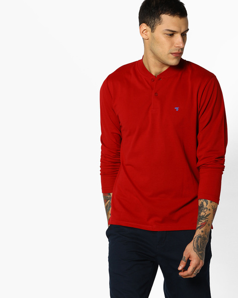 Cotton T-shirt With Ribbed Collar By The Indian Garage Co ( Red )