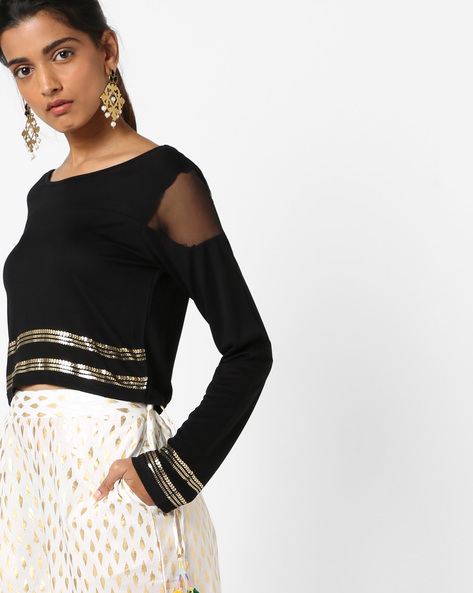 Sequinned Top With Boat Neck By Akkriti By Pantaloons ( Navy )
