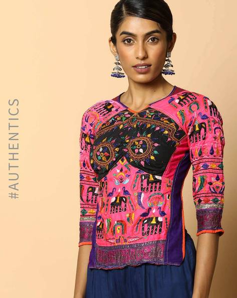 Kutch Embroidered Backless Blouse By Indie Picks ( Multi ) - 460103664001