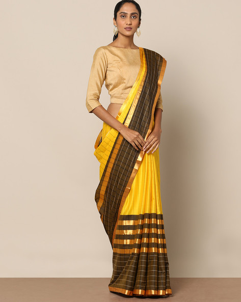 Mercerised Cotton Stripe Saree With Check Border By Indie Picks ( Yellow )
