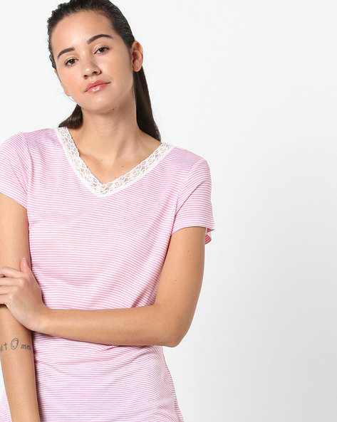 Striped Top With Lace Trim By Ginger By Lifestyle ( Pink )