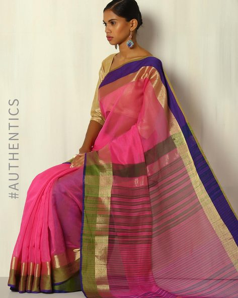 Handwoven Bengal Silk Cotton Saree With Zari Border By Indie Picks ( Pink )