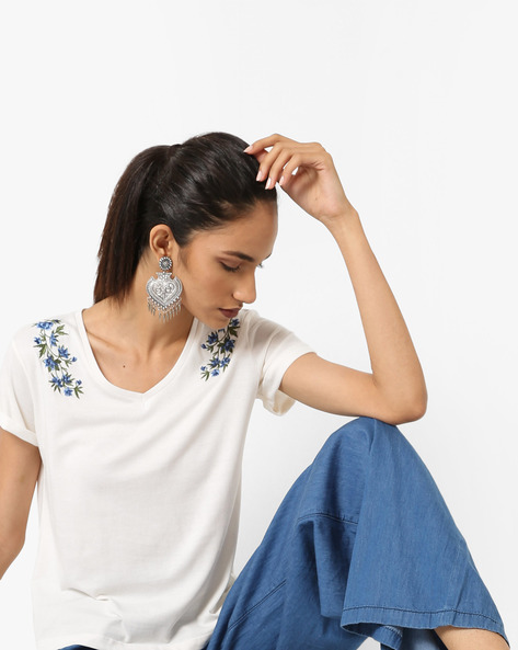 Embroidered Cotton Top With Upturned Sleeve Hems By AJIO ( White )